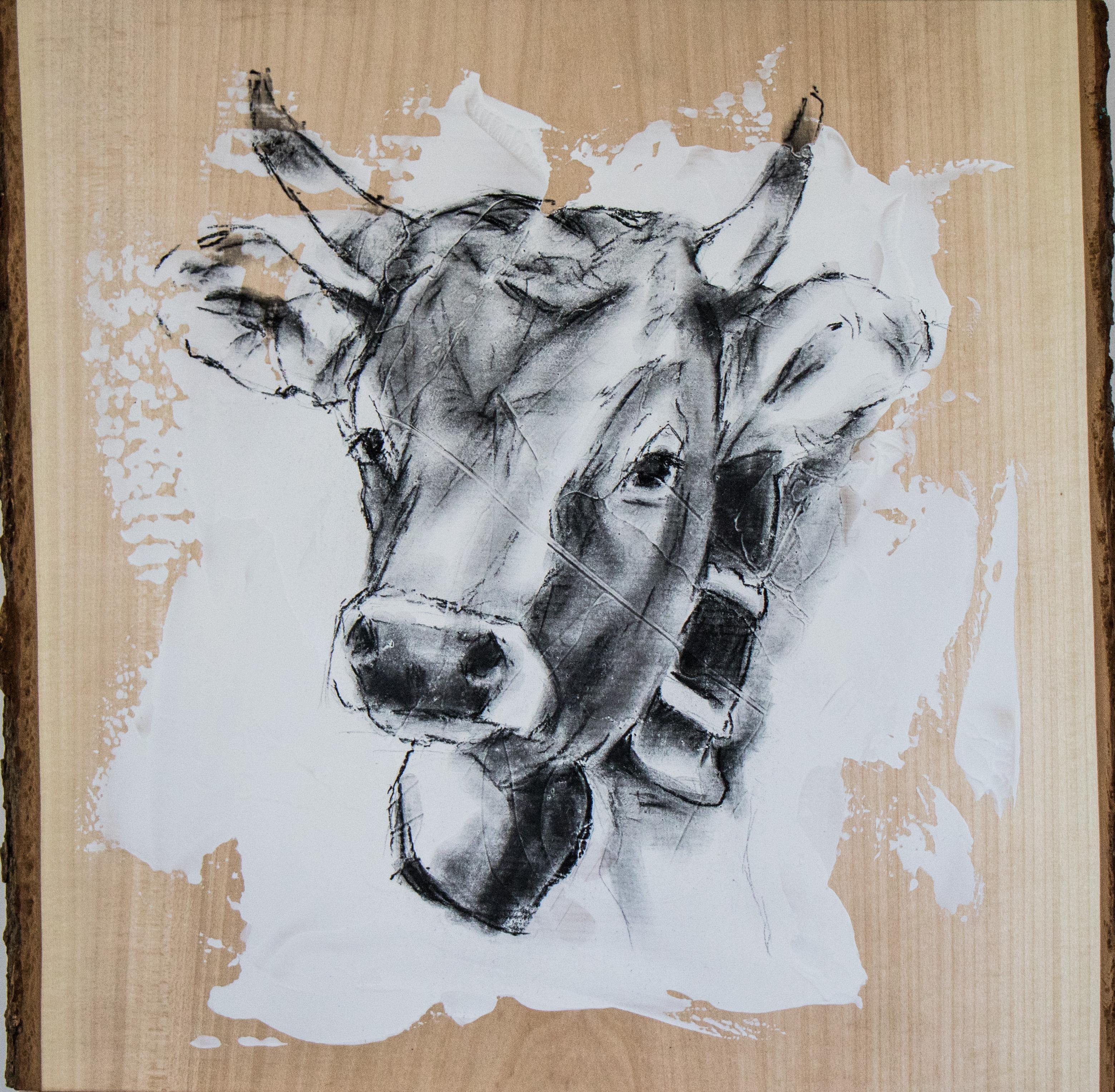 Kuh 1 auf Lindenholz