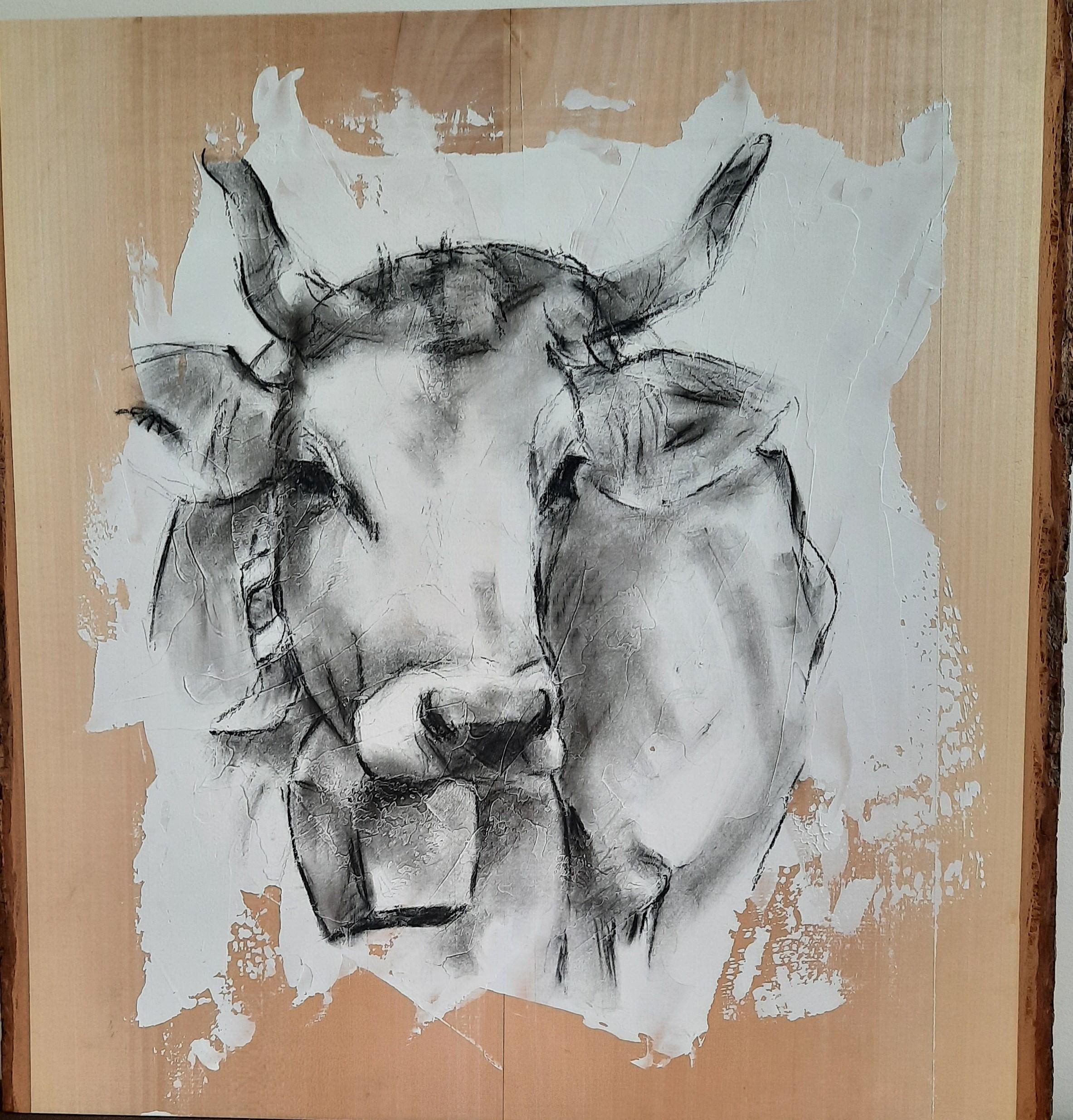 Kuh auf Lindenholz