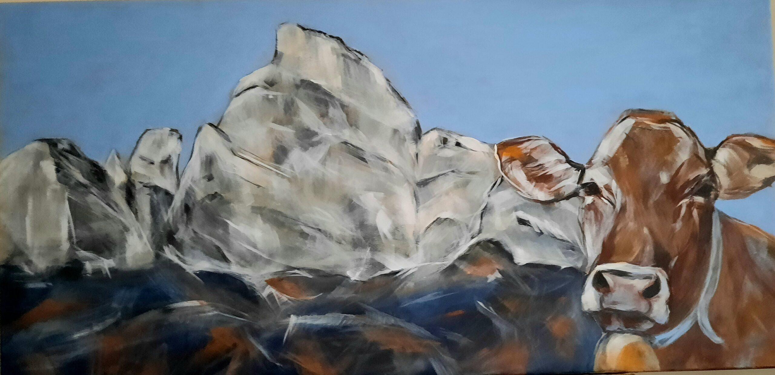 Berg Gonzen mit Kuh (Auftragsarbeit)